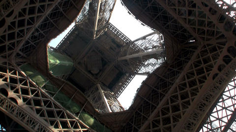 An unusual angle of the Eiffel Tower, Paris, from Stock Video Footage