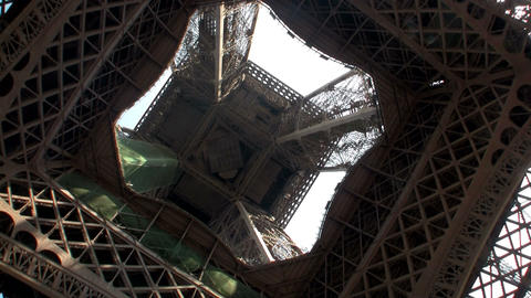 An unusual angle of the Eiffel Tower, Paris, from  Footage