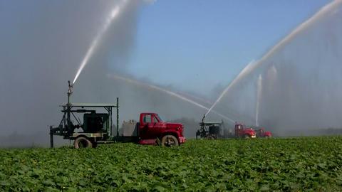 Irrigation trucks water fields Stock Video Footage