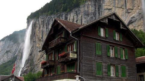 Lauterbrunnen, Switzerland with waterfall behind t Stock Video Footage