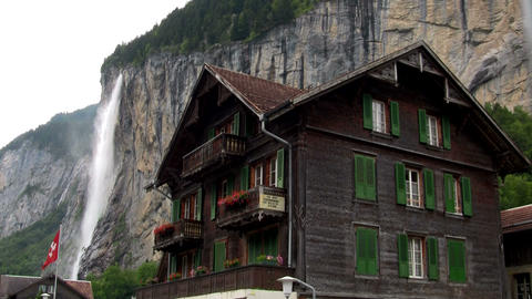 Lauterbrunnen, Switzerland with waterfall behind t Footage