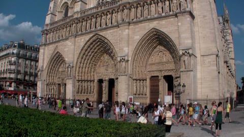 Handheld tilt up Notre Dame Cathedral, Paris, Fran Stock Video Footage