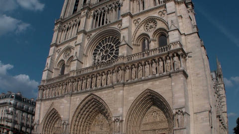 Handheld tilt up Notre Dame Cathedral, Paris, Fran Footage
