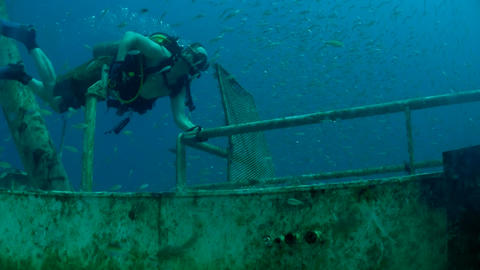Divers explore a shipwreck Footage