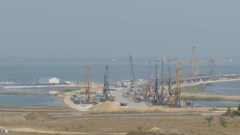 Construction of bridge across the Kerch Strait Footage