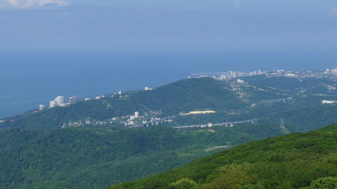 Panorama of Sochi on Black Sea, Caucasus Mountains Footage