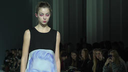 Model on catwalk at fashion show Footage