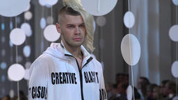 Male model during fashion show Footage