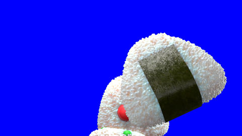 Various of Onigiri rice balls on blue chroma key Videos animados