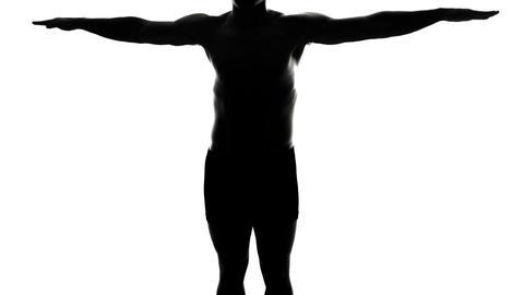 Full Length Spinning Naked Man Silhouette Live Action