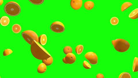 Orange fruits green screen loop animation Videos animados