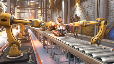 Automated robotic assembly line. Robotics works in a production line of robot parts in a factory. Videos animados