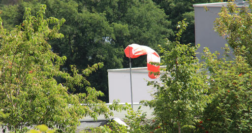striped windsock is blowing Live Action