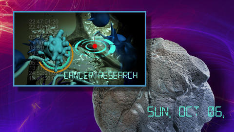3d animation of cancer cell and word cancer research writing on cancer image background 5 Live Action