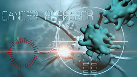 3d animation of cancer cell and word cancer research writing on cancer image background 3 Live Action