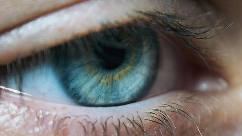 Beautiful Blue Woman Eye, Extreme Close-up. Sight. Detail View Young Girl's Eye Live Action