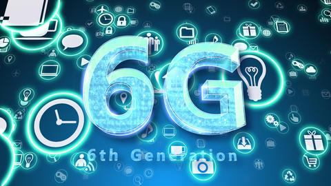 Technology Network Symbol Digital devices on Internet E S0b M-L 6G Animation