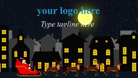 Logo animation with Santa pulled by reindeer 3 versions After Effects Template