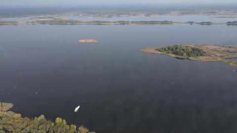 Aerial view of the Dnipro River - the main river of Ukraine Live Action