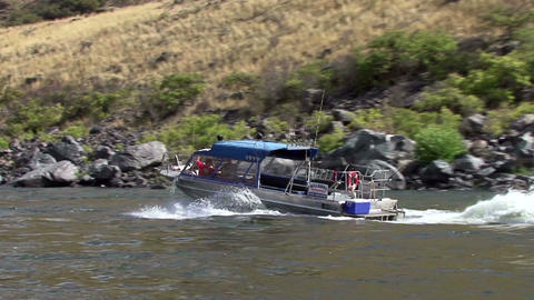 Idaho Hell's Canyon turbo jet boats ride on rapids segment 1 Live Action