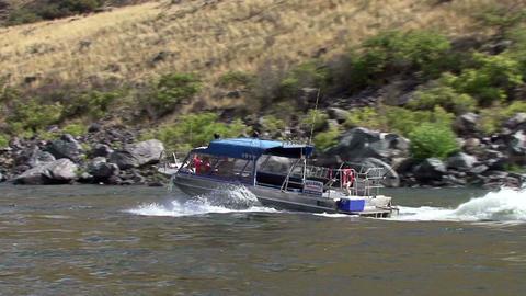 Idaho Hell's Canyon turbo jet boats ride on rapids segment 1 Footage