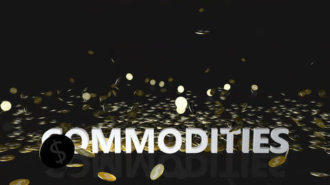 Commodities Concept with Gold Coins Falling From the Sky Live Action