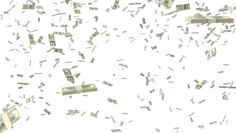 Bundles of hundred dollar bills falling to the bottom on a white background Animation