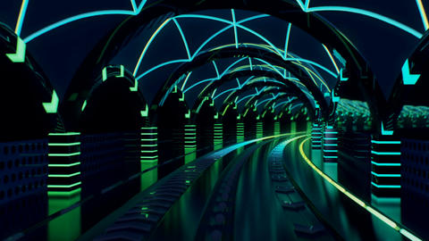 Neon transit line with streaking glowing light rails Animation