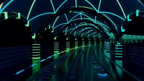 Neon transit line with streaking glowing light rails Stock Video Footage