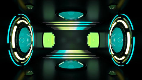 Circular lights and neon tubes in room with spinning reactor Animation