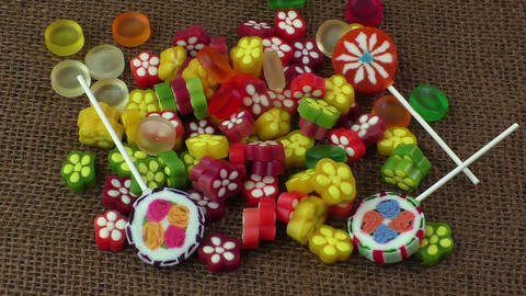 Assortment of colorful fruit jelly candy Footage