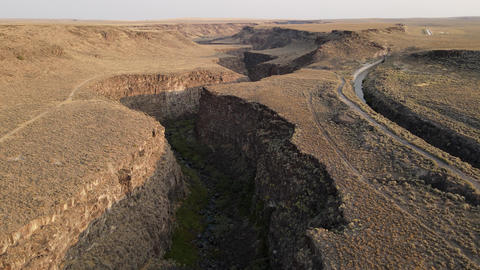 Flying down a river canyon in Southern Idaho Live Action