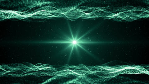 Particles green event game trailer titles cinematic concert stage background loop Animation