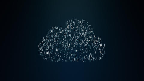 Cloud computing conception chaotically slow moving zero and one symbol binary cloud technology cloud Live Action