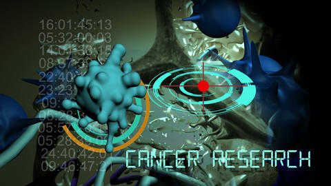 3d animation of cancer cell and word cancer research writing on cancer image background 6 Live Action