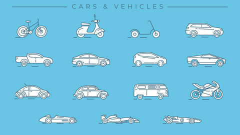 Cars and Vehicles line icons on the alpha channel Animation