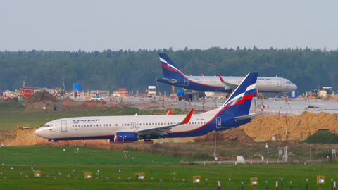 Aeroflot - Russian Airlines Boeing 737 airliner waiting on start position Live Action