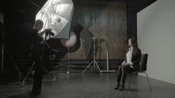 Photographer and model in Studio on photo shoots Footage