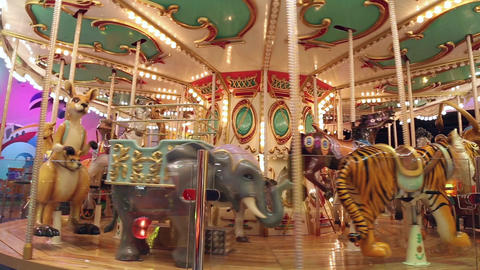 The carousel at the amusement park Footage
