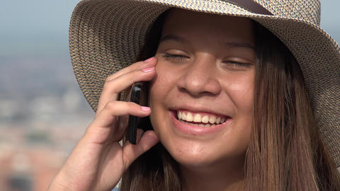 Smiling Teen Girl Talking On Cell Phone Footage