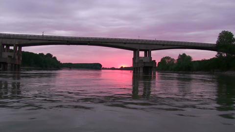 River Po Italy bridge water sunset 1 Footage