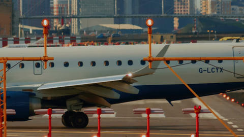 London City Airport - Ultra closeup shot of a British Airways Airliner rotating  Footage