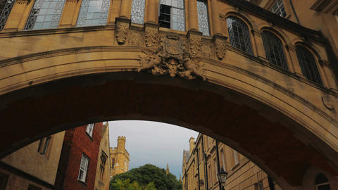 Cinematic POV view of the famous Bridge of Sighs in Oxford, UK Footage
