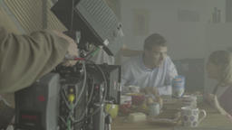 The cameraman shoots the movie with a scene in the kitchen Footage
