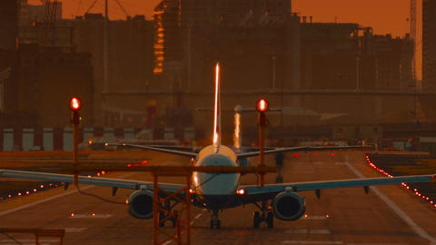 London City Airport - Ultra closeup of an airliner preparing to take off during  Footage