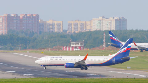 Aeroflot - Russian Airlines Boeing 737 airliner ining up on the runway for Live Action