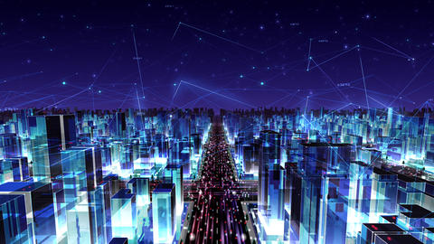 Digital City Network Building Technology Communication Data Business Night Fc2 loop Animation
