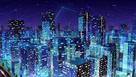 Digital City Network Building Technology Communication Data Business Night Ga2 loop Animation