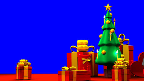 Christmas tree and gift boxes on blue chroma key background 動畫