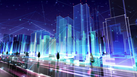 Digital City Network Building Technology Communication Data Business Night Cc2 loop Animation
